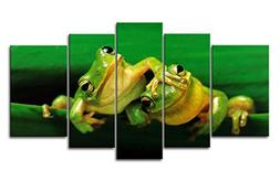 So Crazy Art 5 Panel Wall Art Painting Two Green Frogs Play