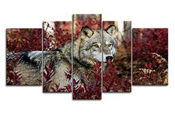 MOREWONDERS 5 Panel Wall Art Painting Wolf In The Forest Pic