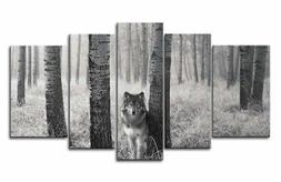 5 Panel Wall Art Wolf Animal Photo Painting Canvas Home Deco