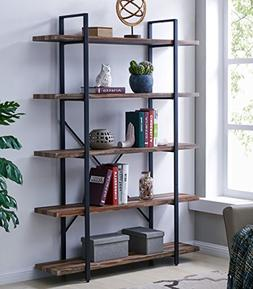Homissue 5-Tier Bookcase, Vintage Industrial Wood and Metal