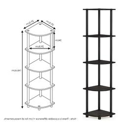 5 Tier Corner Rack Display Shelf - Finish: Espresso/Black