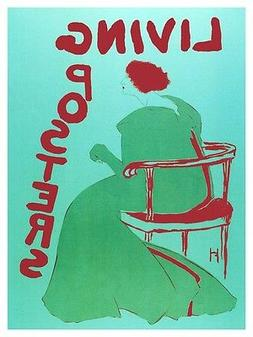 5074.Living posters.Woman in green dress sitting.POSTER.deco
