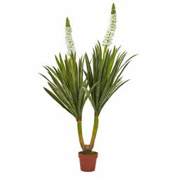 "57"" ARTIFICIAL SILK FLOWERING YUCCA PLANT w/ FLOWERS ~ HOME/"