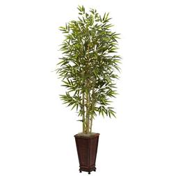 Nearly Natural 5922 6-Feet Bamboo Tree with Decorative Plant