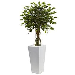 "Nearly Natural 5952 52"" UV Resistant  Ficus Tree with White"