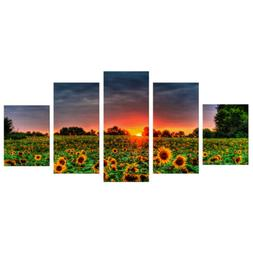 5Pcs Sunflower Art Oil Painting Canvas Picture Room Office W