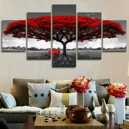 5x Red Tree Modern Canvas Oil Painting Wall Art Home Office