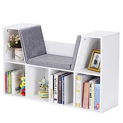 Costzon 6-Cubby Kids Bookcase w/Cushioned Reading Nook, Mult