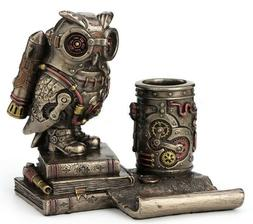 """6"""" Steampunk Owl Cell Phone Stand Pen Holder Home Office Dec"""