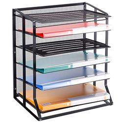 MyGift 6 Tier Black Metal Wire Mesh Vertical Trays Document