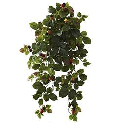 """Nearly Natural 6116-S2 32"""" Raspberry Hanging Bush with Berry"""