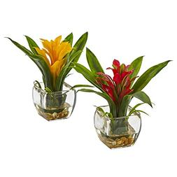 Nearly Natural 6898-S2 Bromeliad Pair with Glass Vase Arrang