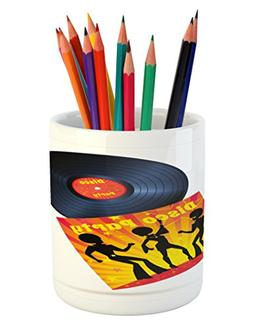 Ambesonne 70s Party Pencil Pen Holder, Vinyl Record Cover wi