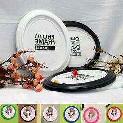 8 Inch Modern Round Photo Frame Wood Glass Picture Holder Ho