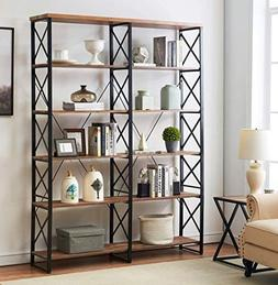 "O&K Furniture 80.7"" Double Wide 6-Shelf Bookcase, Industri"
