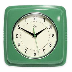 "9"" Green Square Retro Wall Clock Home Living Room Bedroom Ki"