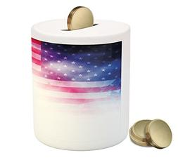 Ambesonne 4th of July Piggy Bank, American Flag with Dreamy