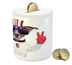 Ambesonne 4th of July Piggy Bank, Funny Pet Dog with an Uncl