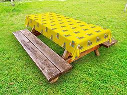 Ambesonne Cartoon Outdoor Tablecloth, Funny Toy Train on The