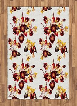 Ambesonne Flowers Area Rug, Floral Decor Seamless Wallpaper
