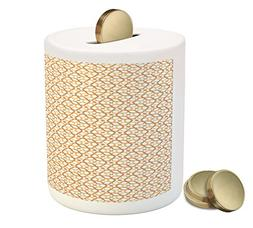 Ambesonne Geometric Coin Box Bank, Six Pointed Stars Pattern
