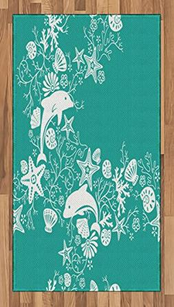 Ambesonne Sea Animals Area Rug, Dolphins Flowers Sea Life Fl