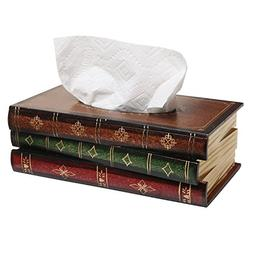 MyGift Antique Book Design Wood Bathroom Facial Tissue Dispe