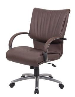 Boss Office Products B9706P-BB Mid Back LeatherPlus Executiv