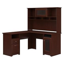 Bush Furniture Cabot L Shaped Desk with Hutch in Harvest Che