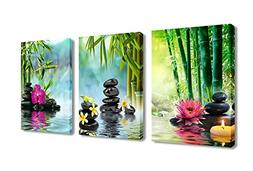 Canvas Painting Wall Art Decor SPA Stone Green Bamboo Pink W