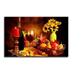 Fresh Look Color Wall Art Painting Red Wine In Goblet Nuts S