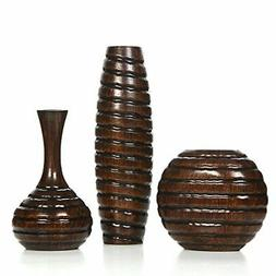 """Hosley Carved Wood Vases; Small 6"""", Medium 8"""" and Tall 12"""" H"""
