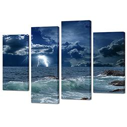 Kreative Arts - 4 Panels Large Seascape Lightning on Storm O