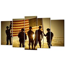 Kreative Arts - 5 Panels Silhouette of Soldiers with America