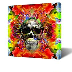 Kreative Arts - Bright Colors The Face Of War Skull Abstract
