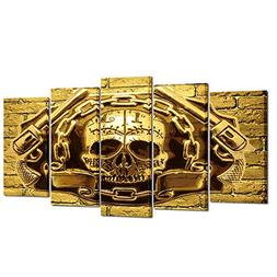 Kreative Arts - Halloween Day of Skull Canvas Wall Art Golde