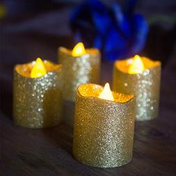 Christmas Votive Candles,Gold Glitter Flameless Candles,Batt