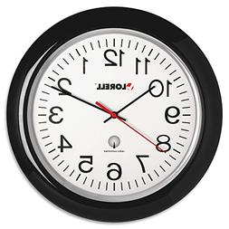 Lorell Wall Clock with Arabic Numerals, 13-1/4-Inch, White D