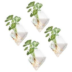 Mkono 4 Pack Glass Wall Mounted Plant Terrariums Air Plant H