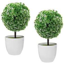 MyGift 10 inch Artificial Faux Tabletop Topiary Trees w/Whit