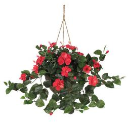 Nearly Natural 6614 Hibiscus Hanging Basket, Red