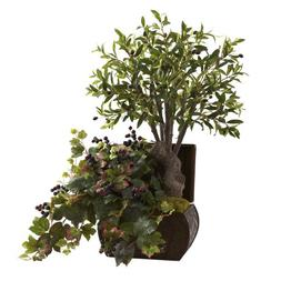 Nearly Natural 6771 Olive Tree and Grape Leaf Arrangement wi