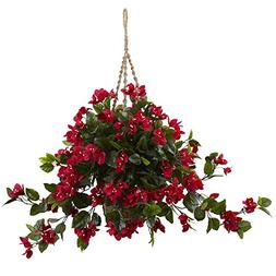 Nearly Natural 6845-RD Bougainvillea Hanging Basket UV Resis