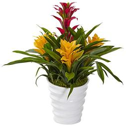 Nearly Natural Tropical Bromeliad Artificial Plant in Vase,