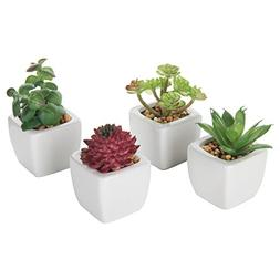 Set of 4 Small Modern Cube-Shaped White Ceramic Planter Pots