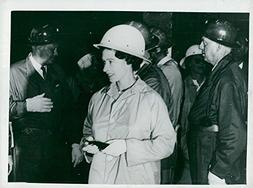 Vintage photo of Queen Elizabeth in mining pit when visiting