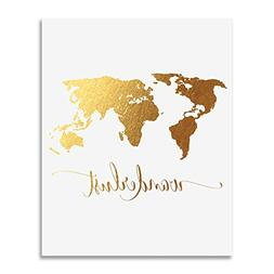 Wanderlust World Map Gold Foil Art Print Travel World Travel
