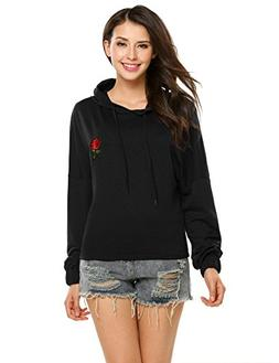 Zeagoo Womens Long Sleeve Knitted Rose Decor Hooded Casual S