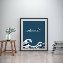 A Smooth Sea Inspirational Wall Art Print Motivational Quote