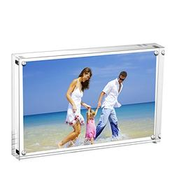 AmeiTech Acrylic Photo Frame 5x7 inches, Free Standing Deskt